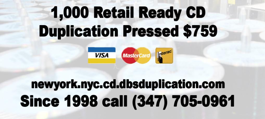 1,000 Retail Ready CD Duplication Pressed $759