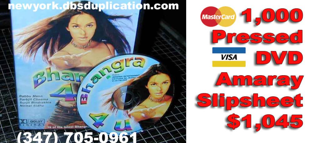 1,000 Pressed DVD Amaray Slipsheet $1,045