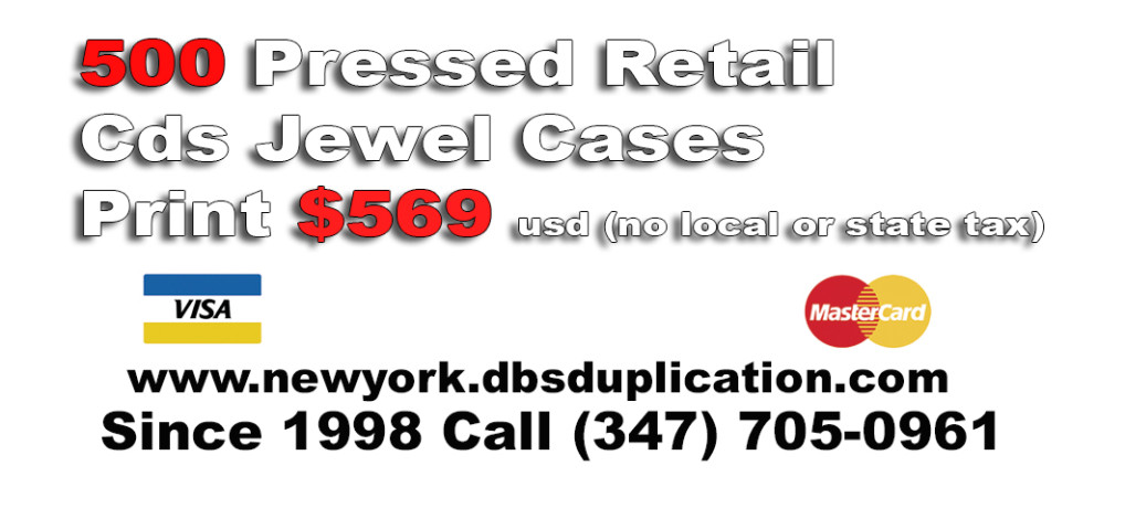 500 pressed retail cds jewel cases print $569