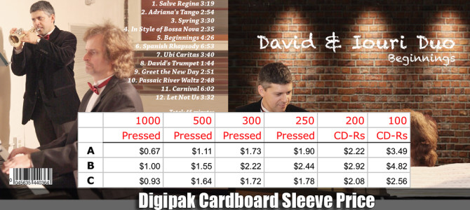 Digipak Cardboard Sleeve USA Price